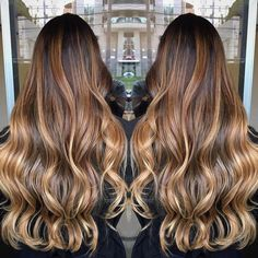 Bronde Balayage For Black Hair Balayage Ombré, Hair Color Balayage, Ombre Hair, Honey Balayage, Balayage Highlights, Tiger Eye Hair Color, Tiger Hair, Eye Color, Brown Hair Colors
