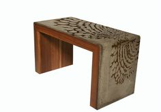Concrete and wood table. Stunning work by Jean Willoughby out of Toronto.