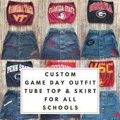 78fbd13486 Custom College Game Day Outfit   Jean Skirt   University Skirt   Tailgate  Skirt   Game Day Skirt   College Skirt   Cheer Skirt   Grad Gift