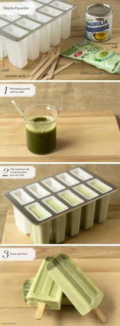Matcha Green Tea Latte Popsicles - would also be good with some boba added
