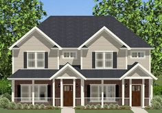 A welcoming front porch leads into a spacious Family Room with a coat closet and access to the second level. Duplex House Design, Small House Design, Townhouse Designs, Duplex Floor Plans, House Floor Plans, Family House Plans, Small House Plans, Master Room Design, Master Suite