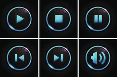 Glowing Button Set For Player Vector Art 166080646