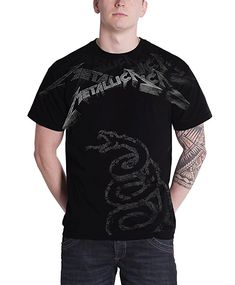 09d4f656f7a5f Metallica T Shirt Black Album Faded Snake Band Logo Official Mens Black