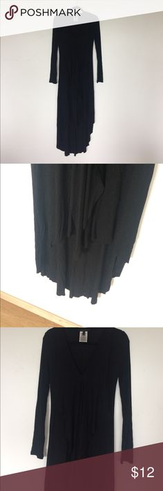 Long sleeve black dress Long dress, long sleeves, high/low, two pieces of fabric that go all the way down the front. Size XS but fits more like a small or medium.. Let me know if you have any ??s **Please note the small hole in the front(price reflective)would be a super easy mend! BCBGMaxAzria Dresses