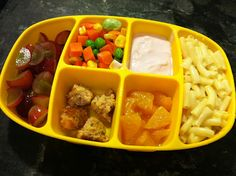 No beautiful bento boxes here yet! I prepare a Nibble Tray for Finn's lunches on the three days that his nanny serves him lunch (*if the N. Easy Toddler Meals, Toddler Lunches, Kids Meals, Toddler Food, Kid Lunches, Healthy Lunches, Can Dogs Eat Oranges, Can Dogs Eat Strawberries, Meal Plan For Toddlers