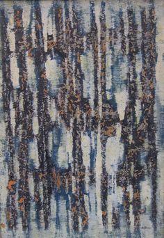 Maurice Morel (dit l'abbé) (1906-1991) / Composition sur fond blanc / Technique mixte sur papier marouflé sur toile / Signé en bas à droite et au revers / 65 x 44,5 cm