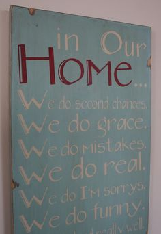 In Our Home - Whimsical Family Rules Sign
