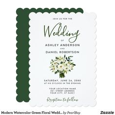 Watercolor White Floral Wedding Greenery S Invitation - cards custom invitation card design marriage party Elegant Wedding, Perfect Wedding, Rustic Wedding, Wedding Greenery, Floral Wedding Invitations, Custom Invitations, Floral Bouquets, Wedding Bouquets, Invitation Card Design