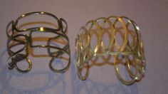 Estate Lot of 2 Geometric Cuff Bangle Silver Toned Bracelets (n99)