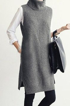 Gray sleeveless pullover with turtleneck , Gray Turtle Neck Sleeveless Jumper , ▲ C l o t h i n g & A c c e s s o r i e s Source by nataluda Long Sweaters For Women, Girls Sweaters, Cardigan Fashion, Knit Fashion, Cardigan Outfits, Mode Outfits, Fashion Outfits, Fashion Ideas, Ärmelloser Pullover