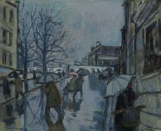 Bernard Lamotte (French, 1903-1983)    Montmartre in the Rain, N/D    Oil on canvas, 24 x 29 in.