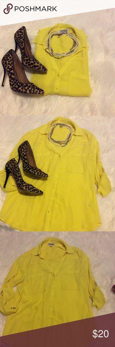 Express Yellow Portofino Shirt Closet must have! Beautiful yellow top! Express Tops Button Down Shirts