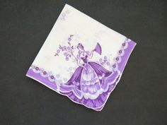 1950s Ballerinas Southern Belle Handkerchief - Lavender Hanky - Victorian Lady - Ballet Dancers Pirouettes - Shabby Chic - Gift Idea