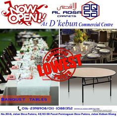 Banquet Tables, Kuala Lumpur, Table Decorations, Furniture, Home Decor, Carpets, Farmhouse Rugs, Decoration Home, Rugs