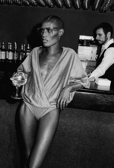 """Grace Jones at Studio 54. Studio 54. Skilled by the rhythm of the transgression, the # Studio54 years have upset and conditioned sounds and fashion in their own time and in the coming one. From my book:  in my book:  """"Macabre and Grotesque in Fashion and Costume"""" available here: https://www.progedit.com/index.php?where=scheda&id=589"""