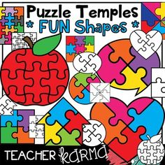 Easy to Cut FUN Shapes Puzzle Templates / Graphics.  You will LOVE the templates... apples, hearts, houses, speech bubbles, circles and squares!  This product includes 35 graphics for you to create your own games and activities.These puzzle templates would be just perfect for...  * reading game* math lesson* literacy center* following directions* learning stationsThese puzzle templates also work great with your INTERACTIVE NOTEBOOK LESSONS! $3.50