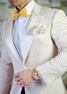 Creme suit for men #suit #pocketsquare #mensfashion