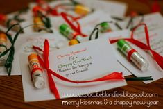 Cute! Attach lip balm to card. Note says Merry Kissmas and Chappy New Year!