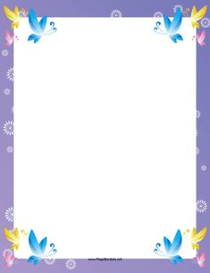 The corners of this fancy, printable border feature pretty, colorful butterflies. Free to download and print.
