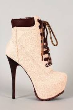 Make a gorgeous statement when you step out in these fabulous booties! Featuring crochet overlay upper almond toe lace up front closure stitching detail hidden platform stacked stiletto heel Platform High Heels, High Heel Boots, Heeled Boots, Bootie Boots, Shoe Boots, Ankle Boots, Hot Shoes, Women's Shoes, Me Too Shoes
