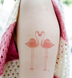 Tatouage aquarelle Flamands roses