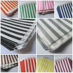 200 Paper Favor Bags  Colored Stripes  5x7  Candy by TheJoyfulCup, $23.00