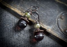 lampwork glass beads earrings • ethnic earrings • sterling silver dots • etched glass beads • Czech beads • flameworked jewelry • short