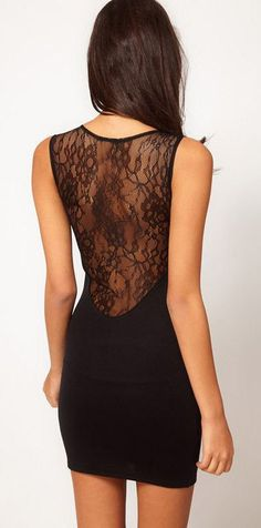 Black Sheer Backless Lace Bodycon Dress ♥