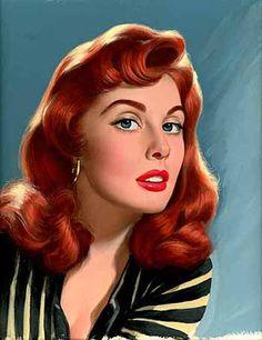 belles images pin-up Vintage Redhead, Vintage Girls, Vintage Beauty, Vintage Art, Vintage Waves, Pin Up Illustration, Illustration Pictures, Etiquette Vintage, Estilo Pin Up