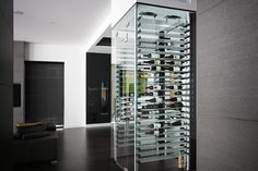 Enhance your living room with a Streamline Wine Cellar from Millesime wine Racks. Configure your wine rack today. Glass Wine Cellar, Home Wine Cellars, Wine Cellar Design, Wine Glass, Contemporary Coasters, Contemporary Wine Racks, Wine Storage, Locker Storage, Storage Ideas