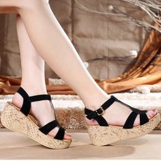 6bb46c8c05b4 2017 Summer shoes woman Lady Carved Heels Open Toe Wedges Sandals Women s  Platform Trifle with Gladiator Sandals Women-in Women s Sandals from Shoes  on ...