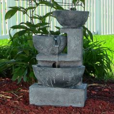 Old World Cascading Bowls Solar On Demand Outdoor Garden Fountain Water Feature