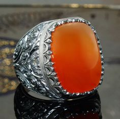 925 Sterling Silver Mens Ring Yemen Aqeeq Carnelian Unique handcrafted Jewelry  #KaraJewels #Handmade