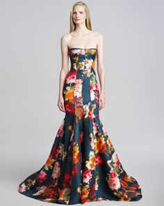J. MENDEL Multicolor Floral Gazar Strapless Gown Forever fanciful: This J. Mendel evening gown stirs your senses with its figure-glorifying silhouette and bouquet-ruffled skirt that takes a bow. Floral gazar. Strapless sweetheart neckline; dipped back. Corset bodice sculpts hourglass structure. Contour piping shapes curve-hugging silhouette. Mermaid skirt flares dramatically to floor from knee. Silk/wool; silk lining. Made in USA of Italian material .   $6980 at Bergdorf Goodman