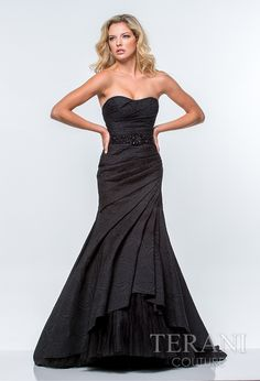 Sweetheart trumpet wrap gown with floral embossed design and delicate sequin belt detail