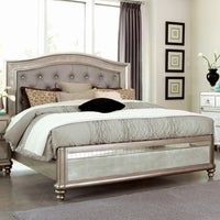 Geneva Platinum Upholstered And Mirrored Tufted Bed In 2020 Bed