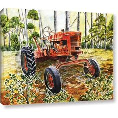 ArtWall Derek Mccrea Old Tractor Gallery-wrapped Canvas, Size: 24 x 32, Green