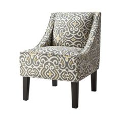 Swoop Slipper Accent Chair - New Damask Gray & Yellow