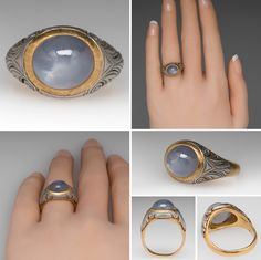 Star Sapphire Ring 18K Gold With Platinum Details