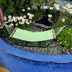 Are you ready for the summer? A miniature hammock for the miniature garden. Cuteness. #miniaturegarden