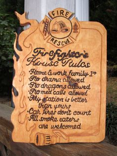 Firefighter House Rules by DesignsByRAMDesigns on Etsy, $35.00