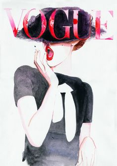 Red, white and black Vogue Cover ~ one of my all time favourites!     Print offered from original painting (sold) of Vogue Covers.  I am so happy with the way this large archival glicee print looks ~ it is hard for me to tell the difference between the original and its reproduction!