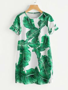 SheIn offers Palm Leaf Print Frilled Sleeve Dress & more to fit your fashionable needs. Short Green Dress, Short Sleeve Dresses, Dresses With Sleeves, Long Sleeve, Frill Dress, Dresses For Work, Summer Dresses, Leaf Prints, Women's Fashion Dresses