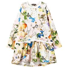 Floral and Butterfly Drop Waist Dress
