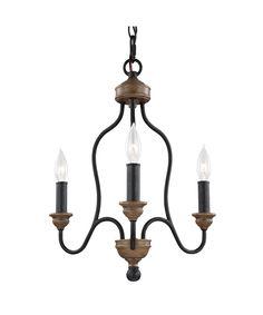 Hartsville 17″ 3 Light Mini Chandelier in Dark Weathered Zinc-Weathered Oak