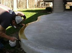 Stained Concrete Patios | Reactive Acid Stain Transforms A Plain Concrete  Patio Acid Stained Concrete Patio