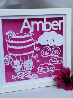 New Baby Personalised Hot Air Balloon Jungle Animals Gift Frame. Box Frame Art, Box Frames, Frame Crafts, Craft Frames, Baby Silhouette, Silhouette Cameo, Quilled Roses, Pet Gifts, Baby Gifts