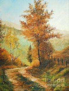 Autumn Painting - On My Way Home by Sorin Apostolescu Watercolor Landscape, Landscape Art, Landscape Paintings, Watercolor Paintings, Autumn Painting, Autumn Art, Beautiful Paintings, Beautiful Landscapes, Fine Art Amerika