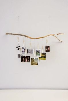 OmbreTree Branch Photograph Hanger with white fading clothespins. Hand carved and wrapped with gray, white and black strings and twine (Diy House Art) Decoration Branches, Decorating With Branches, Polaroid Display, Polaroid Pictures Display, Ways To Hang Polaroids, Hanging Polaroids, Polaroid Wall, Polaroid Photos, Rama Seca