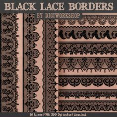 "Digital Lace Border Clip Art ""Black Lace Borders"" clipart set with digital black…"